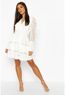 Ivory Dobby Mesh Sleeve Tiered Wrap Dress