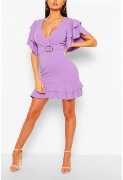 Lilac Ruffle Detail Belted Mini Dress