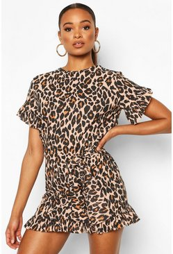 Leopard Print Ruffle Tie Waist Dress, Brown
