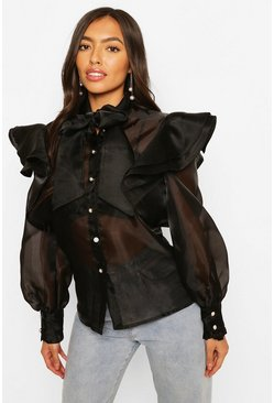 Black Organza Ruffle & Bow Detail Shirt