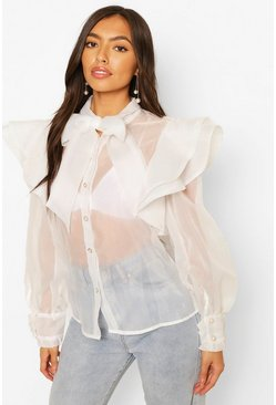 White Organza Ruffle & Bow Detail Shirt
