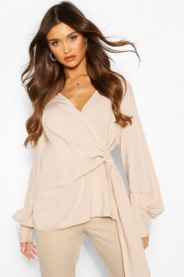 Ivory Wrap Twist Front Woven Blouse