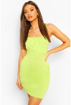 Lime Rouche Bust Mini Dress