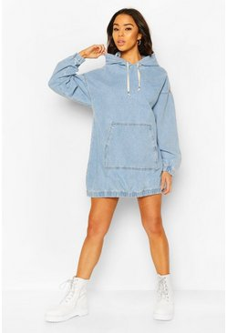 Light blue Hooded Denim Pullover Dress