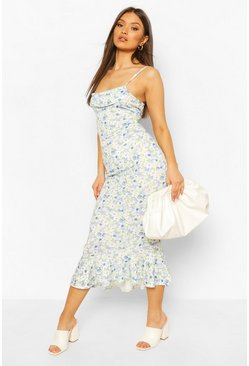 Blue Floral Print Cowl Neck Dress With Fishtail Hem