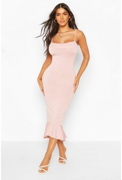 Blush Strappy Cowl Neck Dress With Fishtail Hem