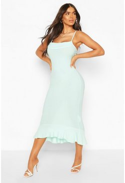 Strappy Cowl Neck Dress With Fishtail Hem, Mint