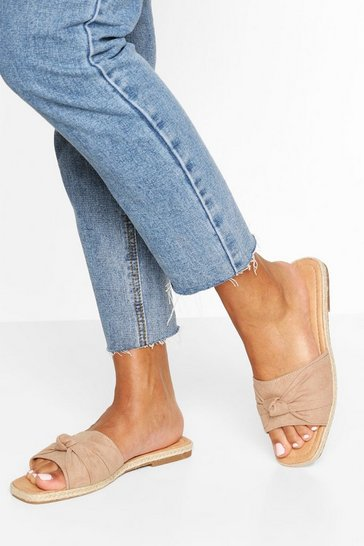 Blush Knot Front Square Toe Sliders