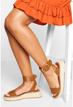 Tan 2 Part Flatform Espadrilles