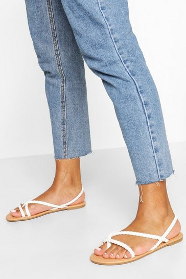 White Plaited Strap Toe Post Sandals
