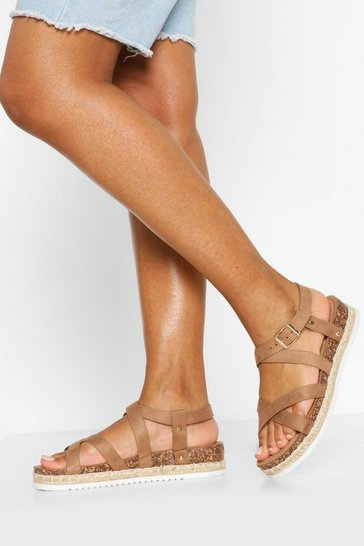 Tan Strappy Footbed Sandals