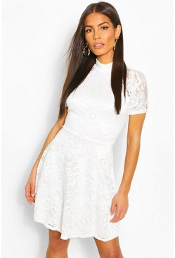 Ivory High Neck Lace Skater Dress