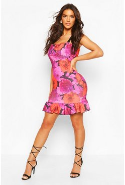 Floral Rouche Bust Tie Detail Mini Dress, Pink