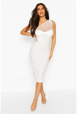 Ivory Dobby Mesh Corset One Shoulder Midi Dress