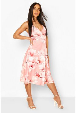 Coral Floral Print Wrap Front Midi Skater