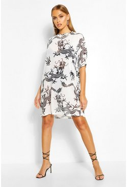 White Dragon Print Mesh T-Shirt Dress