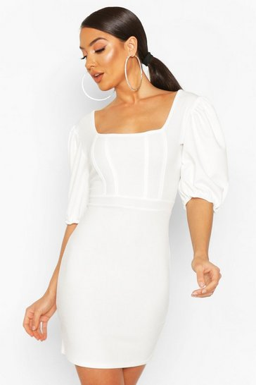 Cream Corset Top Detail Dress
