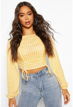 Mustard Ruched Front Detail Top