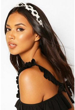 Black Polka Dot Twist Knot Head Band
