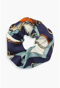 Blue Chain Print Scrunchie