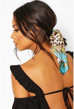 Blue Leopard Chain Print Satin Scrunchie Hair Tie