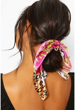 Pink Leopard Chain Print Satin Scrunchie Hair Tie