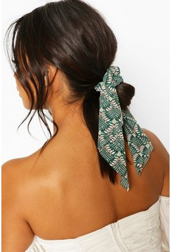 Green Pattern Scrunchie & Hair Tie