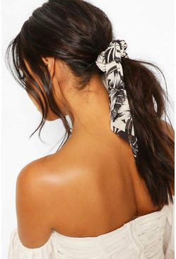 Black Palm Print Scrunchie & Hair Tie