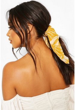 Mustard Palm Print Scrunchie & Hair Tie