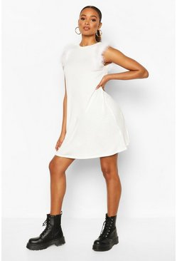 Feather Trim Sleeveless Shift Dress, White
