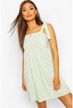 Mint Jersey Broderie Tie Detail Smock Dress