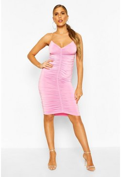 Clear Strap Ruched Slinky Mini Dress, Hot pink