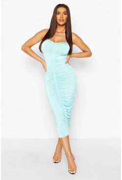 Turquoise Clear Strap Ruched Slinky Mini Dress