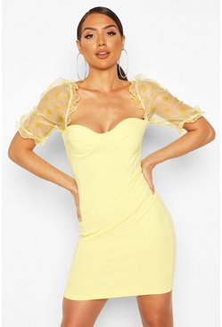 Lemon Spotted Organza Cupped Mini Dress