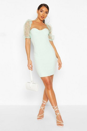 Mint Spotted Organza Cupped Mini Dress
