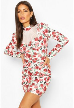 Red Floral Mesh Insert Puff Sleeve Mini Dress