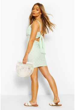 Mint Jersey Broderie Tie Back Mini Dress