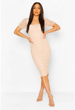 Soft pink Mesh Rouche Detail Midi Dress