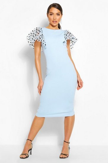 Blue Polka Dot Organza Frill Sleeve Midi Dress