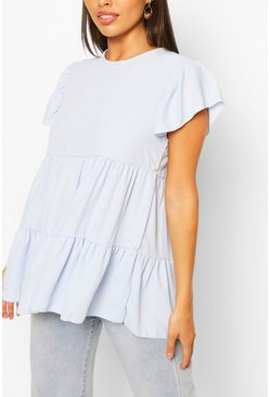 Pale blue Frill Sleeve Smock Top