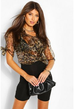 Brown Leopard Print Organza Tie Sleeve Shirt