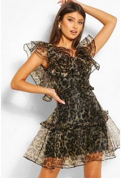Brown Leopard Print Organza Ruffle Mini Dress