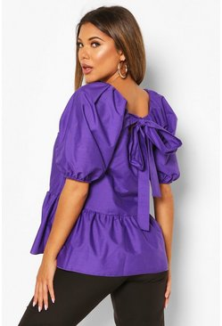 Purple Tie Back Cotton Mix Smock Top