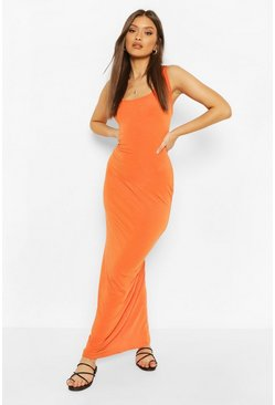 Orange Recycled Basic Maxi Dress
