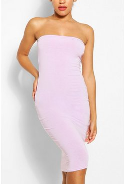 Lilac Recycled Basic Bandeau Midi Dress