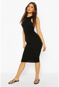 Black Recycled Basic Racer Midi Dress