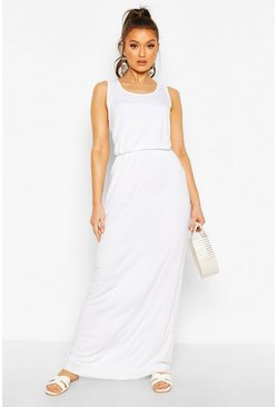 White Recycled Basic Blouson Maxi Dress