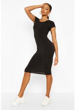 Black Recycled Basic Cap Sleeve Midi Dress
