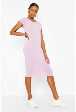 Lilac Recycled Basic Cap Sleeve Midi Dress
