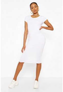 White Recycled Basic Cap Sleeve Midi Dress